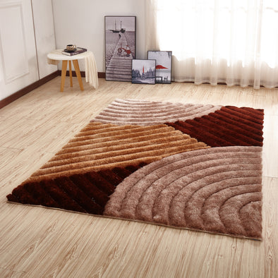 CSR2011 - Crown Shaggy 3D Brown/Beige Area Rug - Luna Furniture