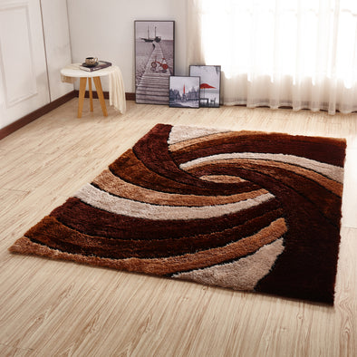 CSR2031 - Crown Shaggy 3D Brown/Ivory/White Area Rug - Luna Furniture
