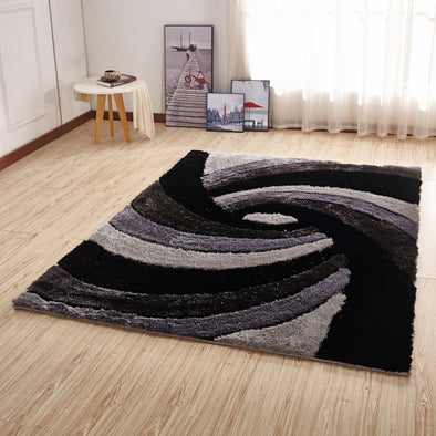 CSR2032 - Crown Shaggy 3D Gray/Black/White Area Rug - Luna Furniture