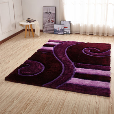 CSR2044 - Crown Shaggy 3D Purple/Pink Area Rug