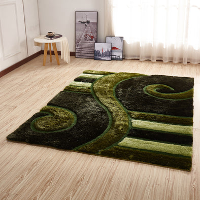 CSR2045 - Crown Shaggy 3D Green Area Rug