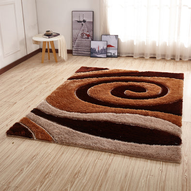 CSR2051 - Crown Shaggy 3D Brown/Ivory Area Rug - Luna Furniture