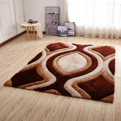 CSR2061 - Crown Shaggy 3D Brown/Ivory Area Rug - Luna Furniture