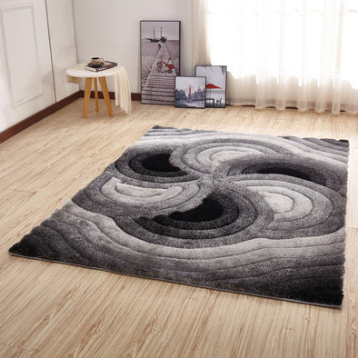 CSR2072 - Crown Shaggy 3D Gray/Black Area Rug
