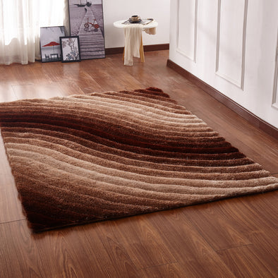 CSR2081 - Crown Shaggy 3D Brown Area Rug