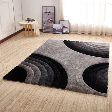CSR2102 - Crown Shaggy 3D Gray/Black Area Rug