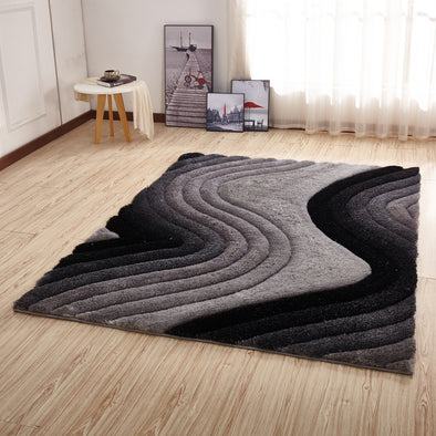 CSR2112 - Crown Shaggy 3D Gray/Black Area Rug