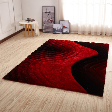 CSR2113 - Crown Shaggy 3D Red/Black Area Rug - Luna Furniture
