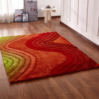 CSR2126 - Crown Shaggy 3D Green/Orange/Red Area Rug