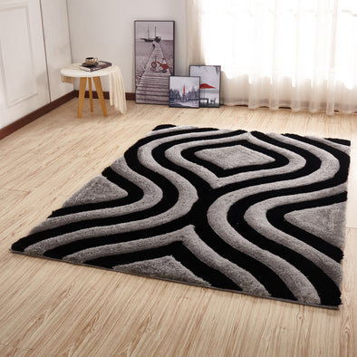 CSR2152 - Crown Shaggy 3D Gray/Black Area Rug