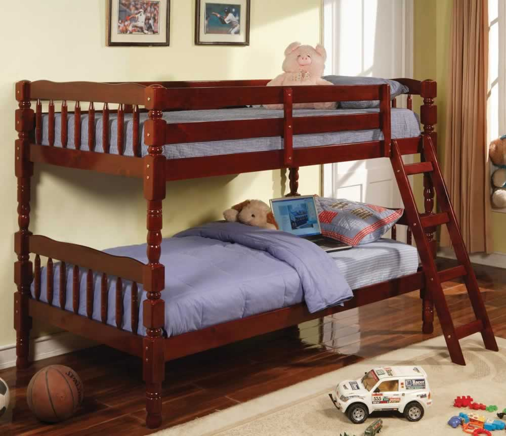 Clearance Emma Cherry Twin Over Twin Bunk Bed 9076 Luna