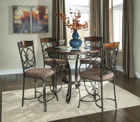 Glambrey Brown 5-Piece Round Counter Height Set - Luna Furniture