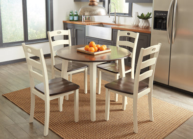Woodanville Cream/Brown Drop Leaf Dinette Set - Luna Furniture