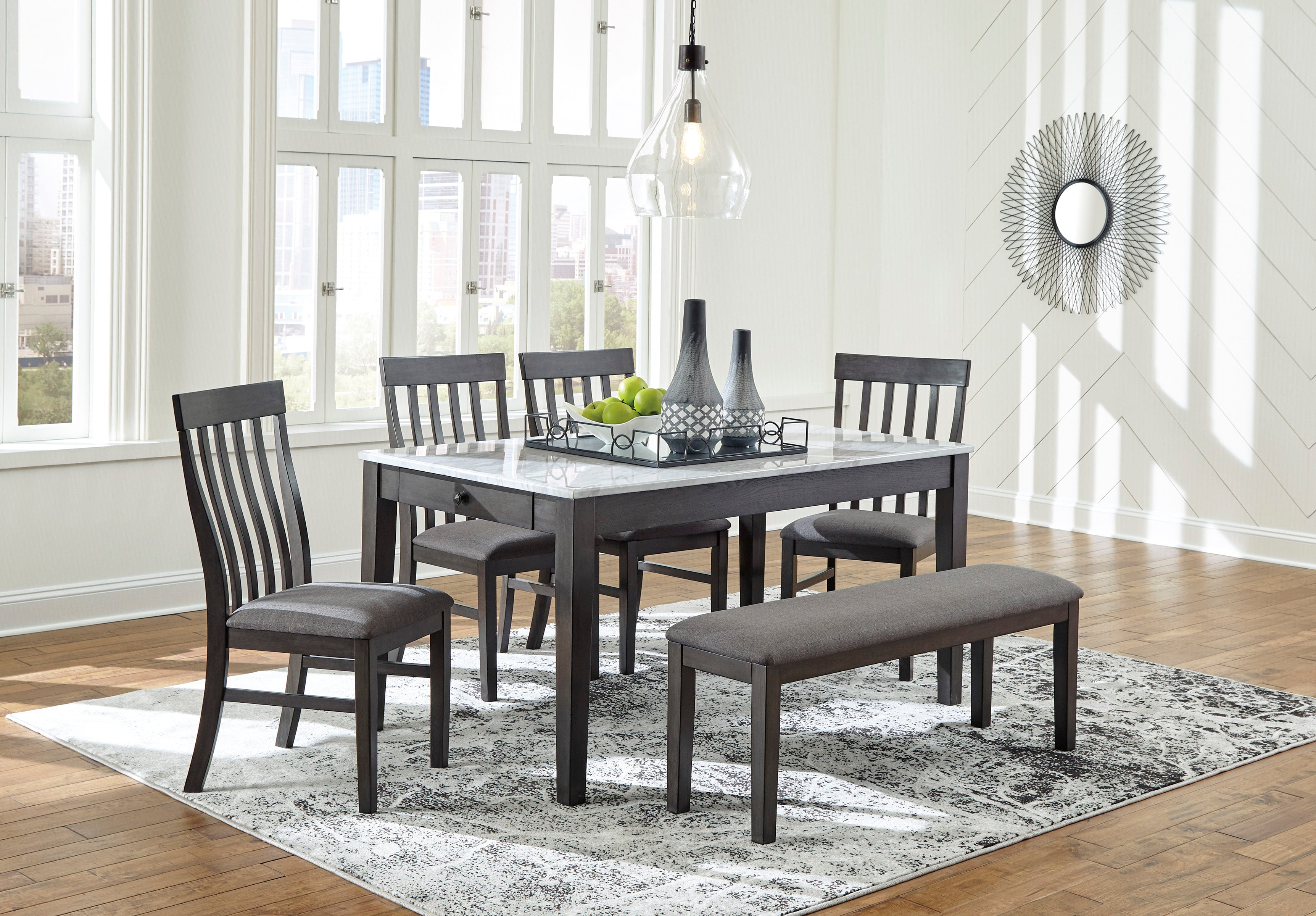 Picture of: Special Luvoni White Charcoal Dining Set From Ashley Luna Furniture