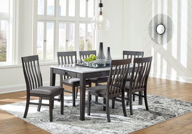 Luvoni White/Charcoal Dining Set - Luna Furniture