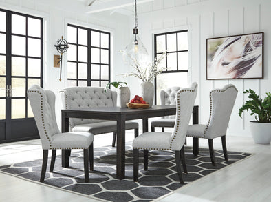 Jeanette Black/Linen Dining Room Set - Luna Furniture