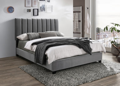 Kimberly Chanel Tufted Silver Velvet King Bed - Luna Furniture