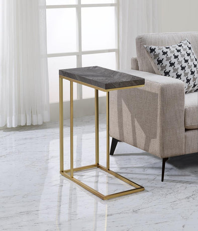 Amelia Gray/Gold Chair Side Table