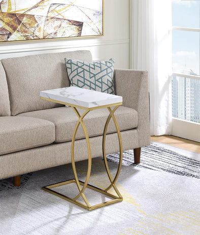 Fanetta White/Gold Chair Side Table - Luna Furniture