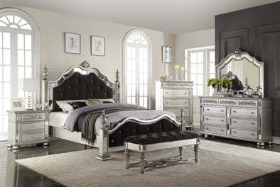 Kealynn Silver King Poster Bed - Luna Furniture