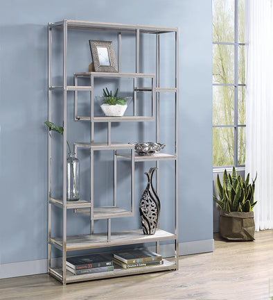Allaire Taupe/Chrome Bookcase