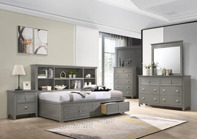 Bessey Gray Twin Storage Panel Bed