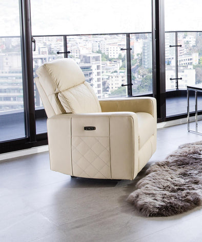 Vienna White Power Recliner - Luna Furniture