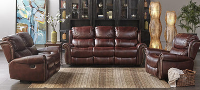 Stanley Mahogany Brown Leather Reclining Loveseat - Luna Furniture