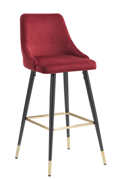 Auburn Red Velvet Upholstered Bar Chair, Set of 2