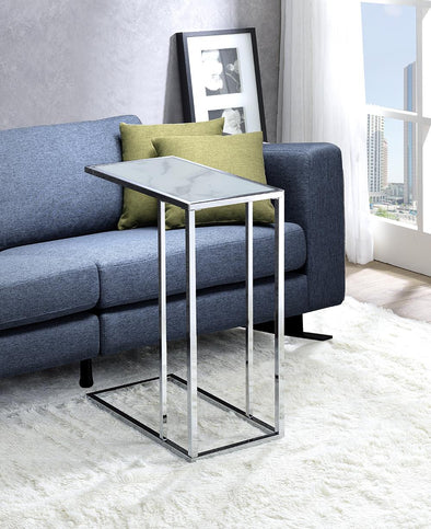 Amelia White/Chrome Chair Side Table - Luna Furniture