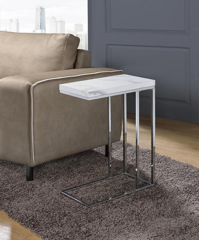 Amelia White Marble/Chrome Chair Side Table - Luna Furniture