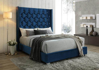 Juliana Navy Velvet 6 FT Diamond Tufted King Upholstered Bed - Luna Furniture