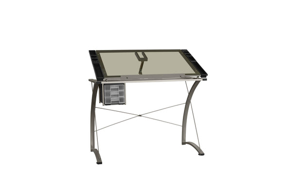 Clear/Silver Glass Work Station Writing Desk - Luna Furniture
