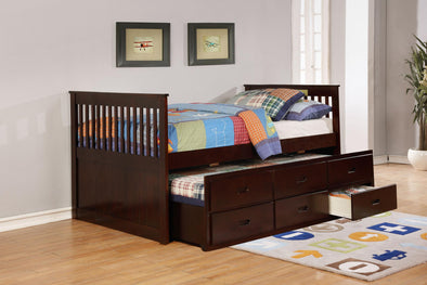 Bennett Espresso Full Captain's Bed with Trundle & 3 Storage Drawers