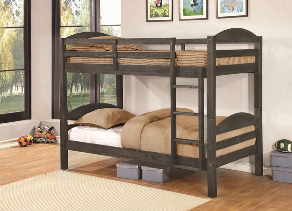 Lily Gray Twin over Twin Bunk Bed - Luna Furniture