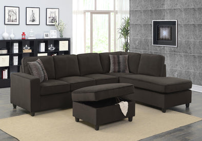 Corvin Brown Reversible Sectional with Storage Ottoman