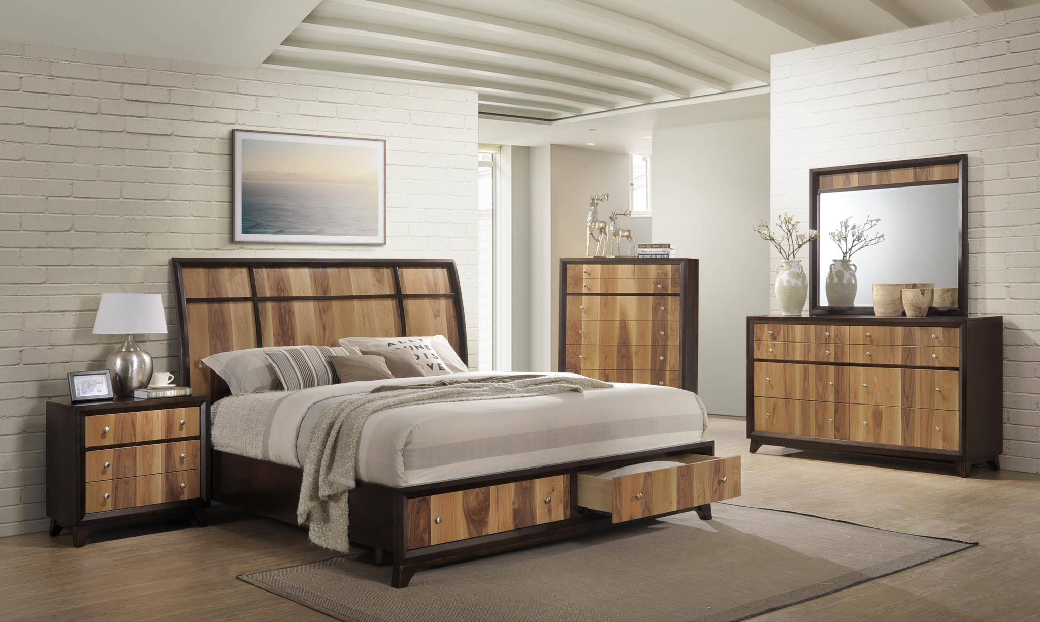 Ava Espresso/Natural Storage Platform Bedroom Set -