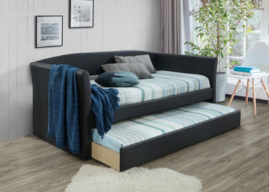 Lorenzo Dark Brown Faux Leather Daybed with Trundle | LR8015