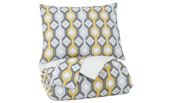 Mato Gray/Yellow/White 3-Piece King Comforter Set - Luna Furniture
