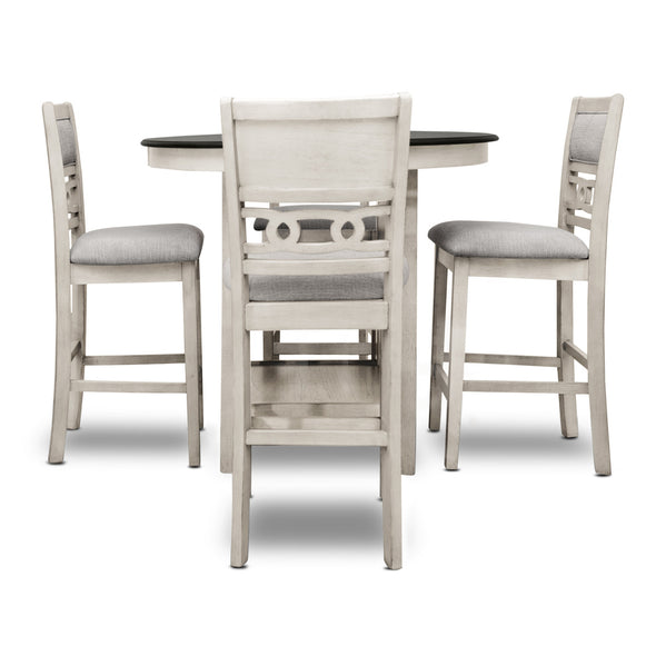 Adore White/Brown 5-Piece Counter Height Set - Luna Furniture