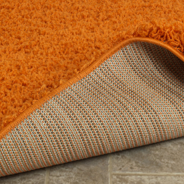 Cozy Solid Orange Shaggy Area Rug - 5X7