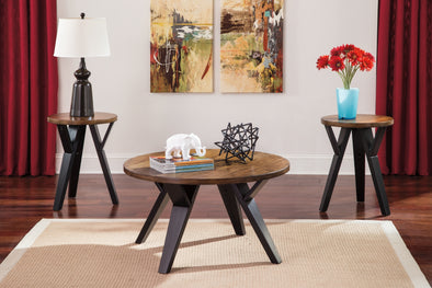 Ingel Two-tone Brown 3-Piece Occasional Table Set - Luna Furniture