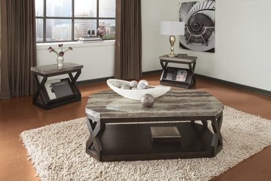 Radilyn Grayish Brown 3-Piece Occasional Table Set - Luna Furniture