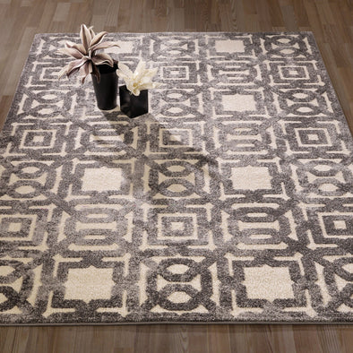 Urban Geometric Trellis Grey Area Rug - 5X7