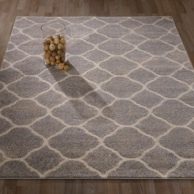 Urban Moroccan Trellis Light Grey Area Rug - 5X7 - Luna Furniture