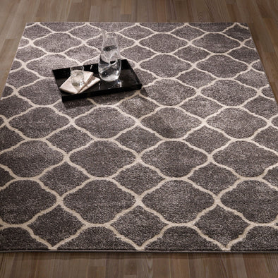 Urban Moroccan Trellis Dark Grey Area Rug - 5X7 - Luna Furniture