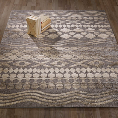 Urban Tribal Print Grey Area Rug - 5X7 - Luna Furniture