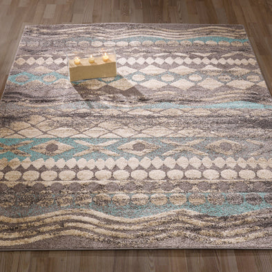 Urban Tribal Print Blue/Grey Area Rug - 5X7