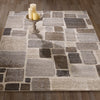 Urban Abstract Checkered Beige/Brown Area Rug - 5X7 - Luna Furniture