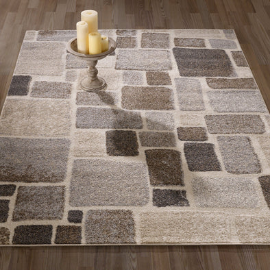 Urban Abstract Checkered Beige/Brown Area Rug - 5X7